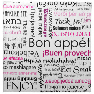 Bon appetit in different languages - hot pink napkin