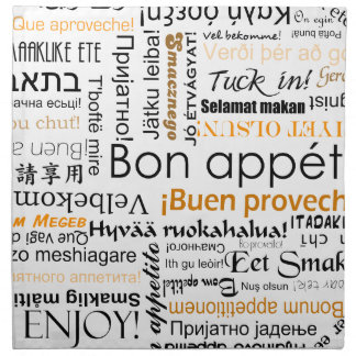 Bon appetit in different languages - orange napkin