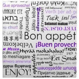 Bon appetit in different languages - purple cloth napkin
