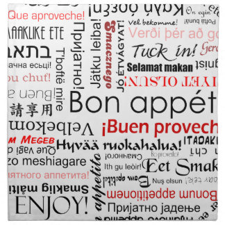 Bon appetit in different languages - red napkin