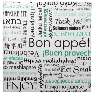 Bon appetit in different languages turquoise teal napkin