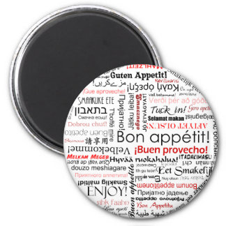 Bon appetit in many different languages typography 6 cm round magnet