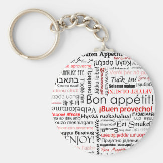 Bon appetit in many different languages typography basic round button key ring