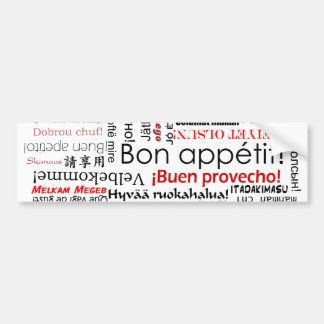 Bon appetit in many different languages typography bumper sticker