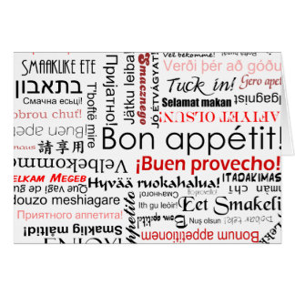 Bon appetit in many different languages typography greeting card