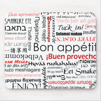 Bon appetit in many different languages typography mouse pad