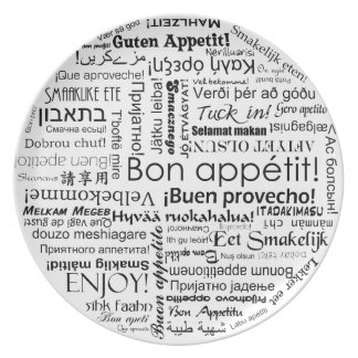 Bon appetit in many different languages typography plate