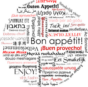 Bon appetit in many different languages typography trucker hat 6b5391f3cba