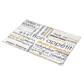 Bon appetit in many languages - orange placemat