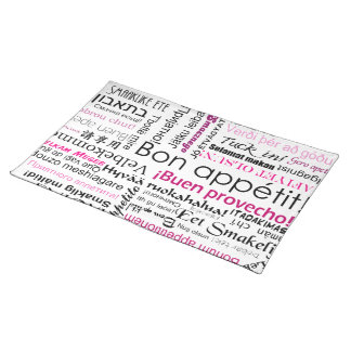 Bon appetit in many languages - pink magenta place mat
