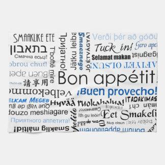 Bon appetit in other languages - blue tea towel
