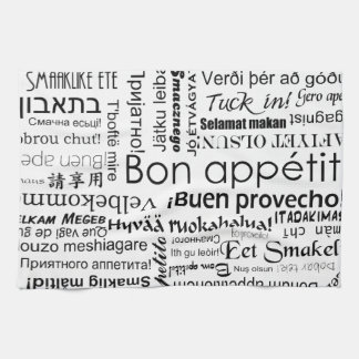Bon appetit in other languages tea towel