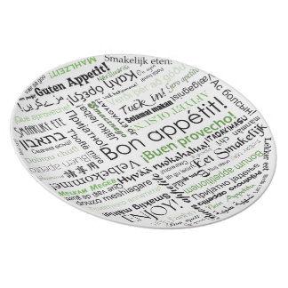 Bon appetit in other languages typography Green Dinner Plates