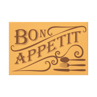 Bon Appetit quote design Gallery Wrapped Canvas