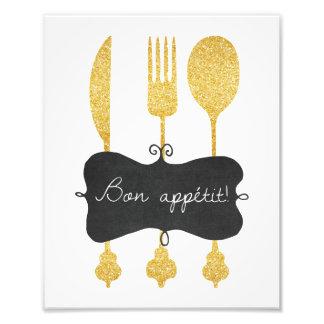 Bon Appetit Utensil Blackboard Photo Print