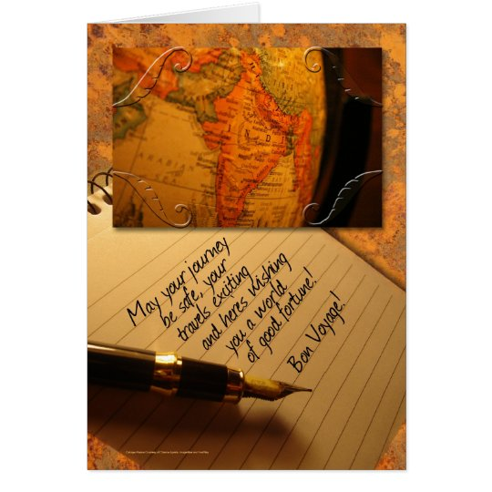 Bon Voyage Globe and Caligraphy Pen with Letter