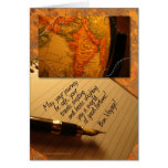 Bon Voyage Globe and Caligraphy Pen with Letter Greeting Card