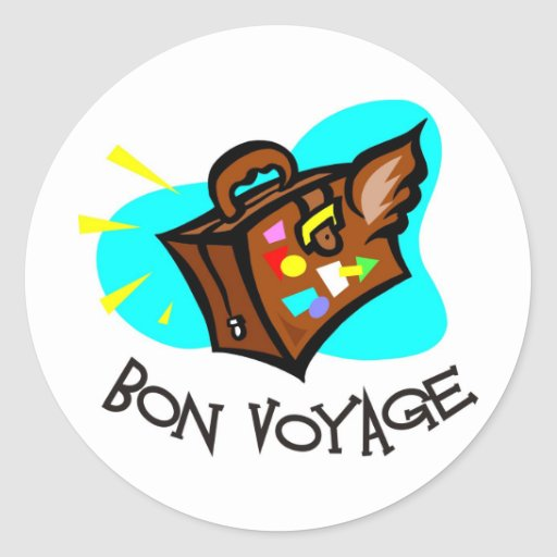 'Bon Voyage, Have A Good Trip! Winged Suitcase Classic Round Sticker