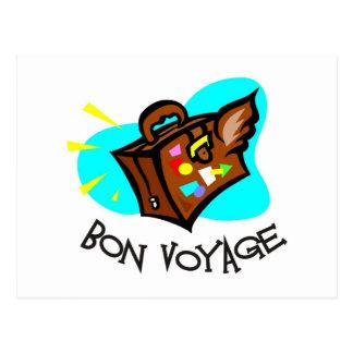 Bon Voyage, have a good trip! Winged suitcase Postcard