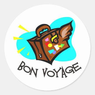 Bon Voyage, have a good trip! Winged suitcase Round Sticker