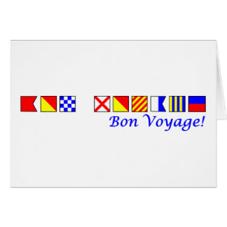 bon voyage in nautical flag alphabet card