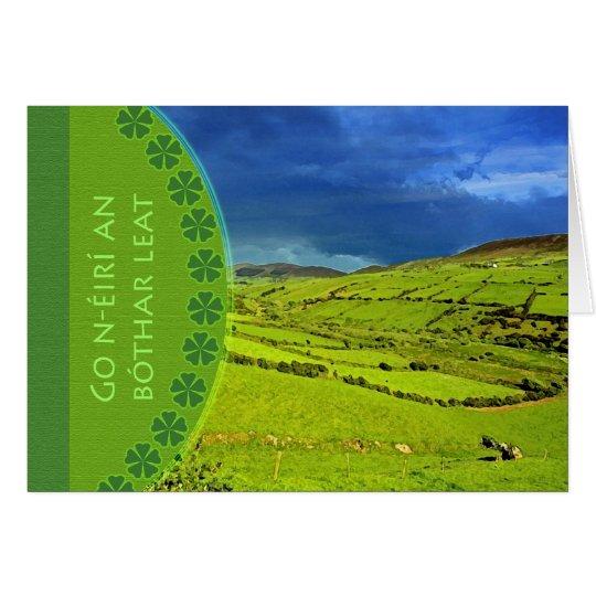 Bon Voyage Irish Gaelic Greeting, Irish Landscape Card