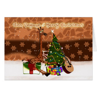 Bon Voyage & Merry Christmas Holiday Giraffe Greeting Card