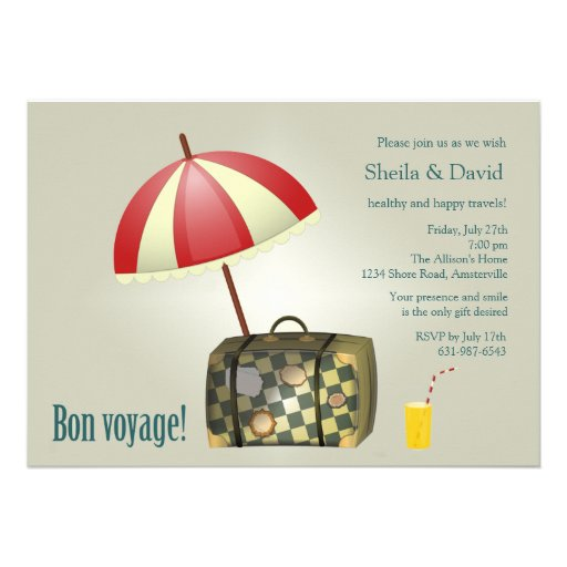 Bon Voyage Party Invitation 13 Cm X 18 Cm Invitation Card ...