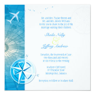 Bon Voyage Unique Wedding Abroad 13 Cm X 13 Cm Square Invitation Card