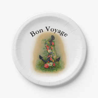 Bon Voyage with Anchor and Flowers 7 Inch Paper Plate
