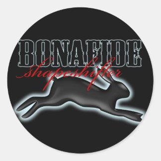 Bonafide Shapeshifter-Rabbit Round Sticker