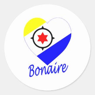Bonaire Flag Heart Classic Round Sticker