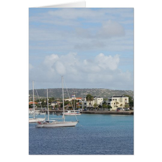 Bonaire Kralendijk Harbour Sailing Boats Card