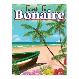 Bonaire vintage travel poster art. postcard