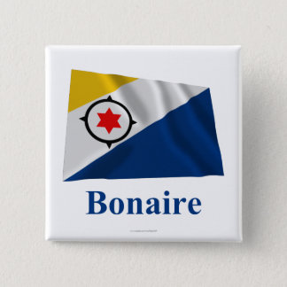 Bonaire Waving Flag with Name 15 Cm Square Badge