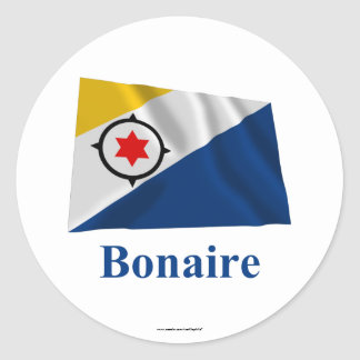 Bonaire Waving Flag with Name Classic Round Sticker