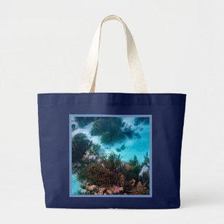 Bonairean Reef Blue Border Jumbo Tote Bag
