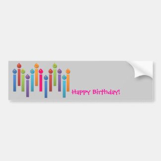 BonBon Party Happy Birthday colorful candels Bumper Sticker