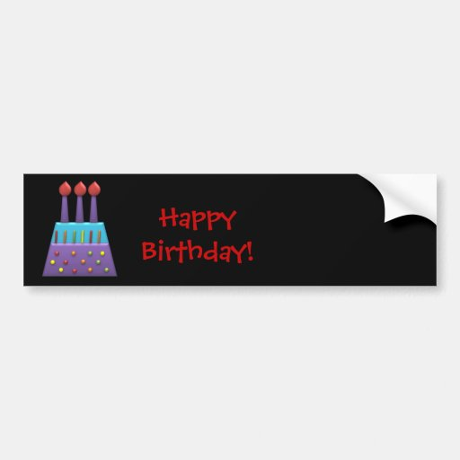BonBon Party Happy Birthday colorful candels Bumper Stickers