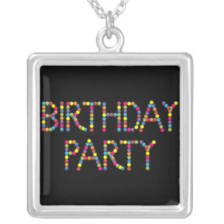 BonBon Party Happy Birthday Party Square Pendant Necklace