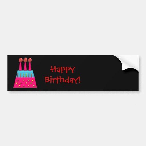 BonBon Party Rainbow Birthday Cake Sticker Bumper Sticker