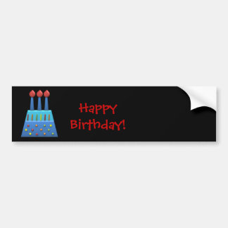 BonBon Party Rainbow Birthday Cake Sticker Bumper Stickers