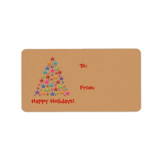 BonBon Rainbow Stars Christmas tree Gift Lable Label