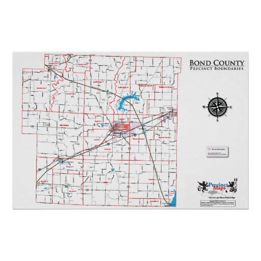 Bond County Precinct Map Posters