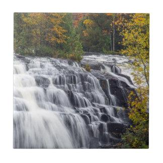 Bond Falls In Autumn Near Paulding, Michigan Small Square Tile
