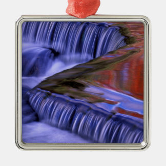 Bond Falls; Reflecting Fall Colored Leaves; Silver-Colored Square Decoration