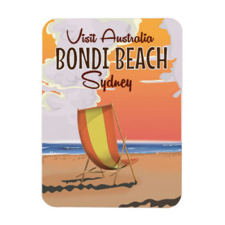 Bondi Beach vintage Travel Poster Magnet