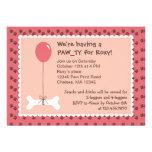 Bone and Balloon Dog Birthday Girl Party Invitatio Invitations