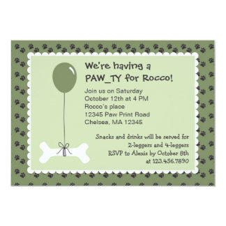 Bone and Balloon Dog Birthday Party Invitation
