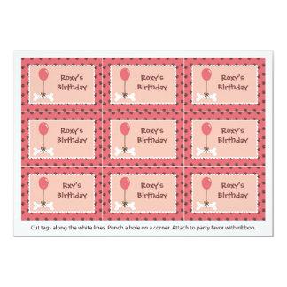 Bone and Balloon Dog Girl Party Favor Tags 13 Cm X 18 Cm Invitation Card
